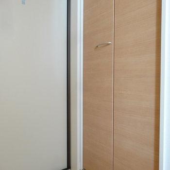 玄関にも大きめのシューズボックスありますよ。※写真は2階の同間取り別部屋のものです