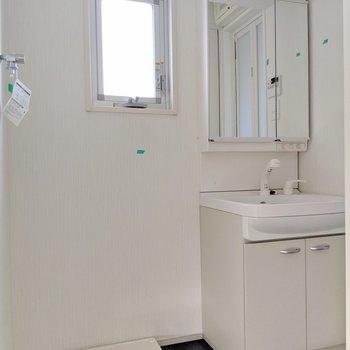 洗濯パンと洗面台は脱衣所に。タオルの棚置けそう。(※写真は清掃前のものです)