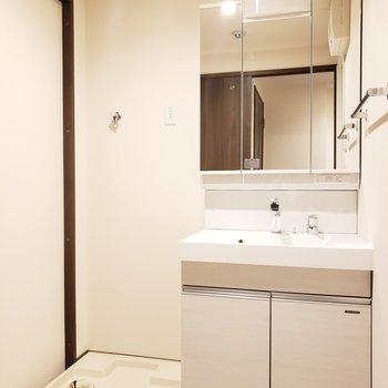 十分なスペースのある脱衣所は快適でいいね!(※写真は2階の反転間取り別部屋のものです)