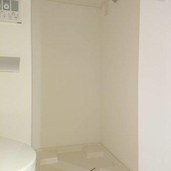 トイレの左手に洗濯機置場※写真は4階の同間取り別部屋のものです