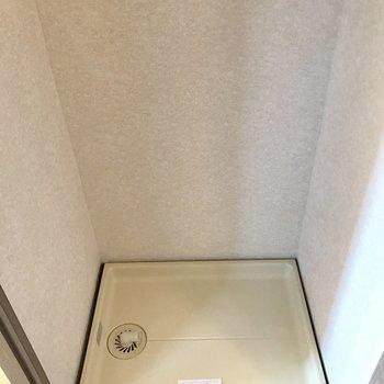 廊下に洗濯機置き場。脱いでそのまま入れられる位置!