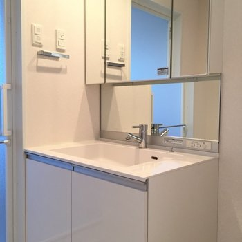 スタイリッシュな洗面台。 (※写真は3階似た反転間取り別部屋のものです)