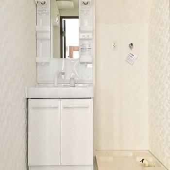 きれいな洗面台と洗濯機置場が並びます。