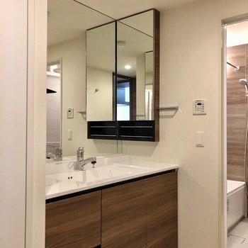 大きな鏡の独立洗面台は収納力も◎