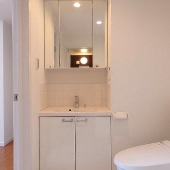 脱衣所に洗面台、トイレ (※写真は1階同間取り、角部屋のものです)