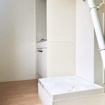 洗濯機はここに。※写真は通電前のものです