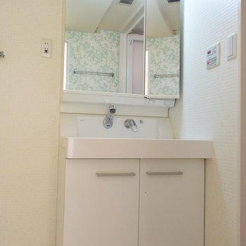 洗面台には大きな鏡が