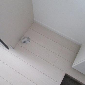 右隣は洗濯機置場です。※写真は通電前のものです※写真は1階の同間取り別部屋のものです