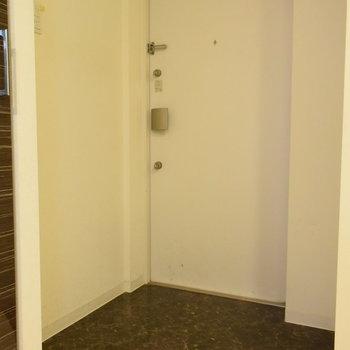 玄関は三角になっています