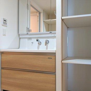 洗面台は3面鏡で身だしなみもバッチリ。ノズルも伸ばせるタイプですよ。(※写真は2階同間取り別部屋のものです)