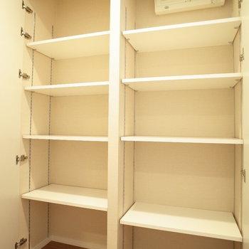 収納が多いですね。※写真は9階の同間取り別部屋のものです