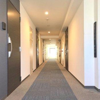 廊下は絨毯で、ホテルのような雰囲気!