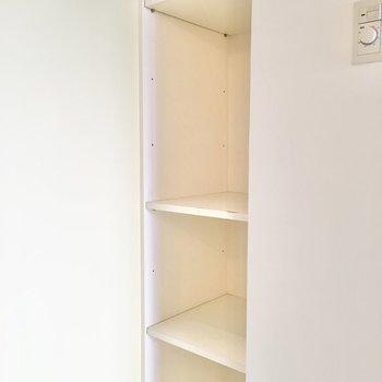 ペーパーなどを置ける棚もありますよ。