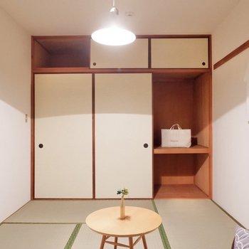 【和室】収納が充実しているので、空間をスッキリ使えますね。※家具・雑貨はサンプルです