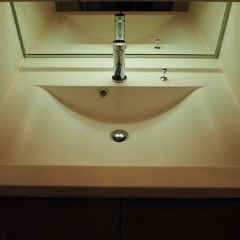 独立洗面台のこの雰囲気なんか好き。※写真は2階の反転間取り別部屋のものです