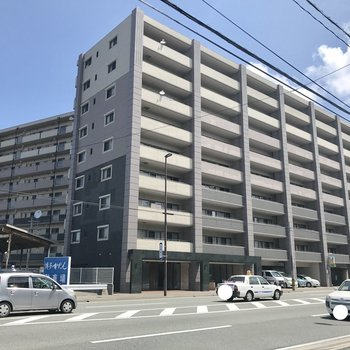 左側に見切れている建物も同じマンションです。駐車場は建物裏に広がっています。