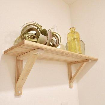 洗濯機パンの上には洗剤とかも置ける棚があります