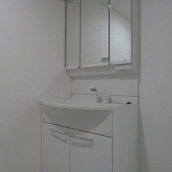 広々とした洗面台。2人並んで歯磨きもできる!