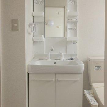 洗面台はコンセント付きで嬉しい ※写真はクリーニング・通電前のものです