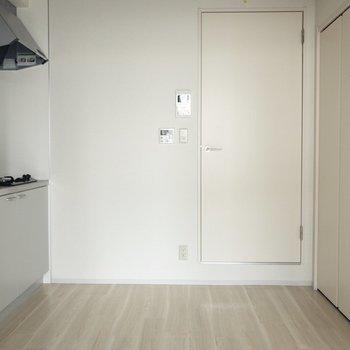 扉の向こうはキッチンと収納スペース ※写真はクリーニング・通電前のものです