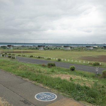 近くに多摩川があります お散歩やジョギングコースに