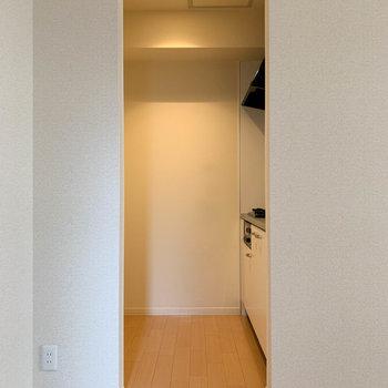お部屋奥、ここを潜るとキッチンです。のれんを垂らして、空間を分けるのも手だな。