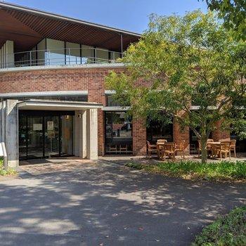 大学の食堂は、一般の人でも利用できるそう。緑を眺めながらテラス席でランチしたい。