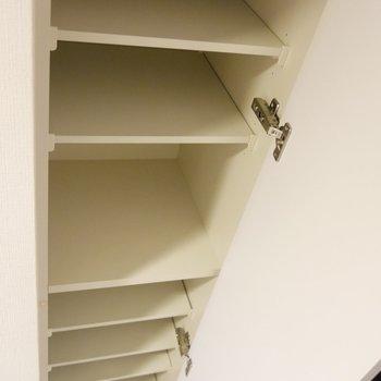 逆側にも、先ほどの靴箱より細長い形の収納です。出番待ちの靴たちをこちらに待機させて整理しちゃいましょう♪