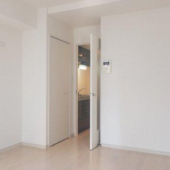 扉の前に収納を発見!※写真は2階の同間取り別部屋のものです