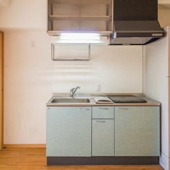 キッチン横には大容量冷蔵庫も置けます。※写真は4階の同間取り別部屋のものです