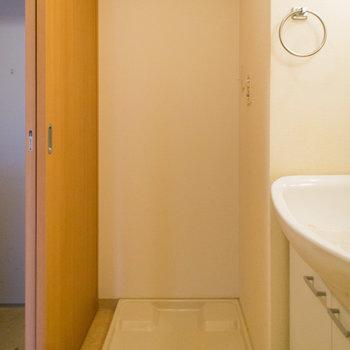 脱衣所に洗濯機置場※写真は4階の同間取り別部屋のものです