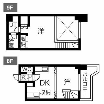 8階と9階。メゾネットタイプのお部屋です。