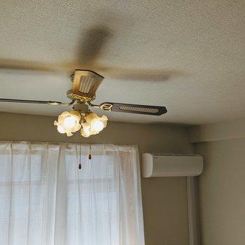 天井にはオシャレなシーリングファンライト。