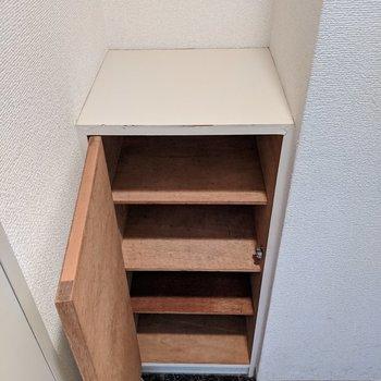 収納スペースが4箇所ありますよ〜。上部に芳香剤が置けますね。