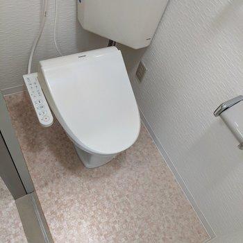 温水便座付きのトイレです。