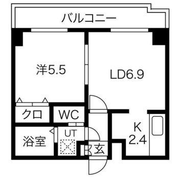 バルコニー付きの1LDKのお部屋です。