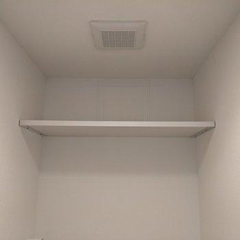 トイレ上には棚があります。トイレットペーパなどを置けます。