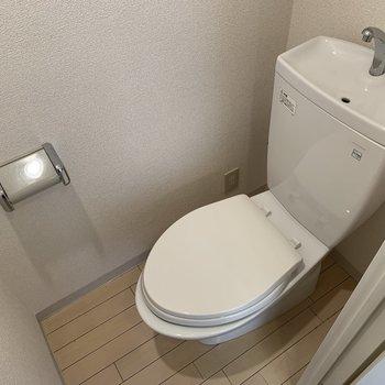 トイレカバーなどをしてカラフルなトイレにしてみたり※写真はクリーニング前のものです