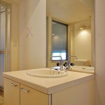洗面台もいいね※写真は3階の反転間取り別部屋のものです