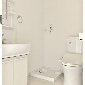 奥にはウォシュレット付きトイレに洗濯機置き場。