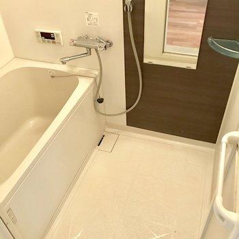 シンプルなバスルーム。鏡付きは嬉しい!