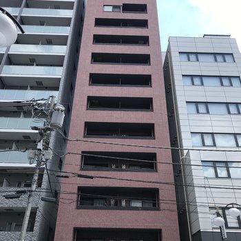 細長い外観。ここの12階。