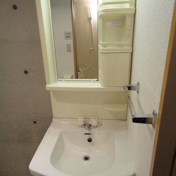 しっかり洗面台あります※写真は1階の同間取り別部屋のものです