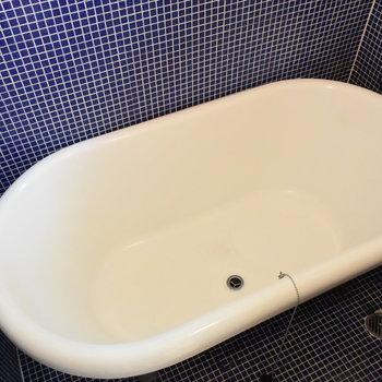 真っ青のタイルに大きな浴槽がすてきなお風呂