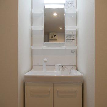 ライト付きの独立洗面台が嬉しい♪