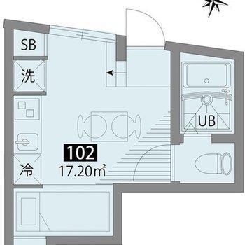 北西向き、1階のお部屋です。