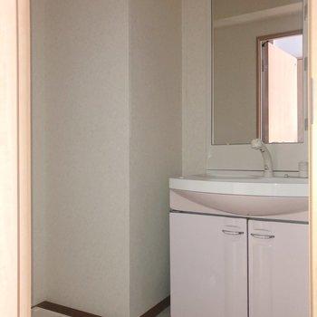 脱衣所には洗面台と洗濯機置場※写真は通電前・フラッシュを使って撮影しています