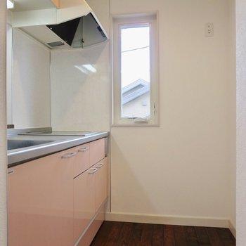 キッチン周りはゆとりがあって冷蔵庫も近くに置けます