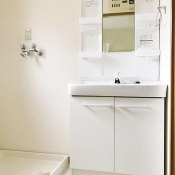 【下階】しっかりとした洗面台。