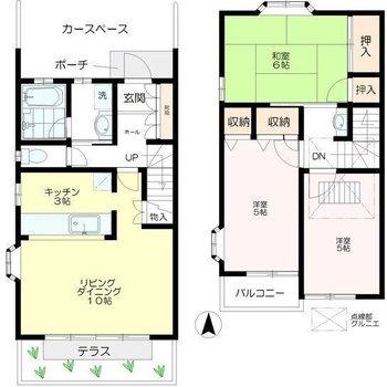 和洋、グルニエ(屋根裏部屋)を組み合わせた3SLDK。
